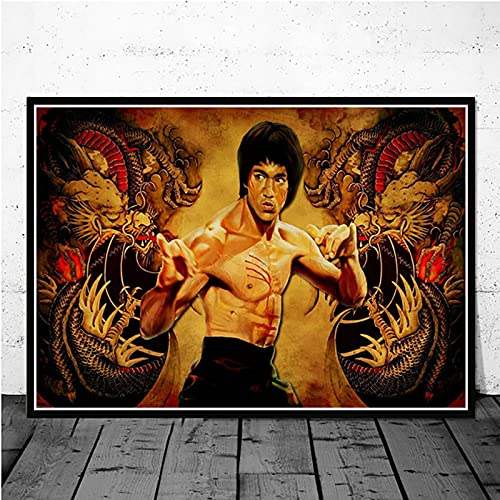Yiwuyishi Bruce Lee Kung Fu Movie Star Posters con impresión de Alta definición y Pintura en Lienzo Imagen de Arte de Pared Vintage Decoración para el hogar 50x70cm P-1718