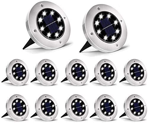 12 Pezzi Luci Solari Giardino, Luce Bianco Solari Giardino Esterno 8 LED Faretti Terra Incasso, Luce Sepolta Solare IP65 Impermeabile per Vialetto Scala Paesaggio Strade Aiuola, Terreno Cortile