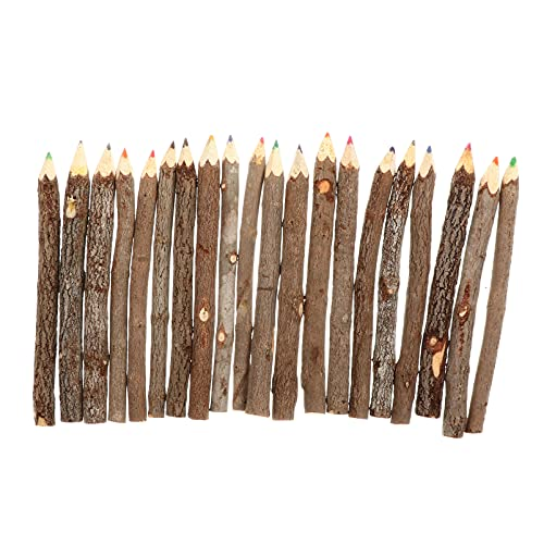 Kisangel 20Pcs Holz Zeichnung Bleistifte Zweig Bleistifte 20 Farbige Bleistifte Kunst Malerei Bleistifte Bunte Stifte ( Kaffee )