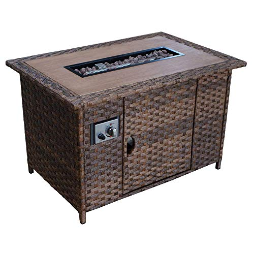 Courtyard Casual Costa Mesa Collection 1 Fire Pit Rectangular Shape, Brown