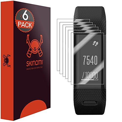 Skinomi Screen Protector Compatible with Garmin Vivosmart HR+ (Garmin Approach X40)(6-Pack) Clear TechSkin TPU Anti-Bubble HD Film