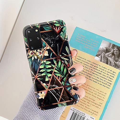Uposao Kompatibel mit Samsung Galaxy S20 Plus Marmor Hülle Case Glitzer Marmor Blumen Muster Weiche TPU Silikon Ultra Dünn Hülle Schutzhülle Kratzfest TPU Bumper Handytasche Case Cover,Schwarz