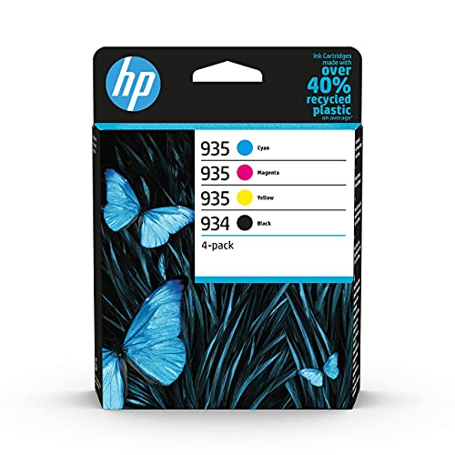 HP 934-935 6ZC72AE, Negro, Cian, Magenta y Amarillo, Cartuchos de Tinta Originales, Pack de 4, para impresoras HP OfficeJet Pro e-All-in-One 6830, 6820 y HP OfficeJet Pro ePrinter 6230
