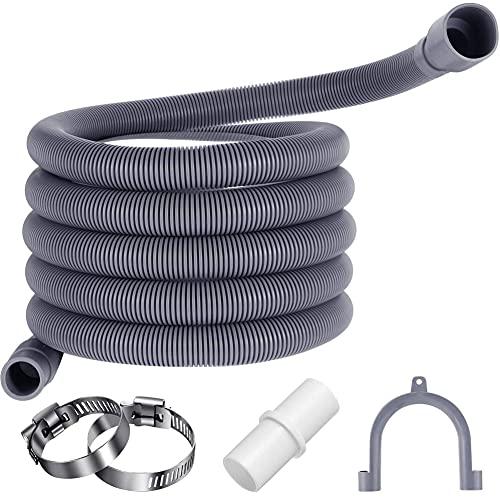 Tubo Scarico Lavatrice,Prolunga Tubo di Scarico,Tubo di Scarico,Staffa e Fascette Stringitubo, per Lavatrice e Lavastoviglie. (1.5m)