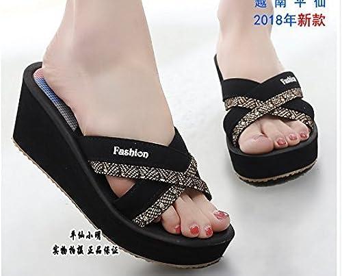 FUWUX Flip Flops für Sommerfrauen Eine Schriftart High Heel Casual Slope (Farbe   schwarz, Größe   5.5 US 35.5 EU 3 UK)