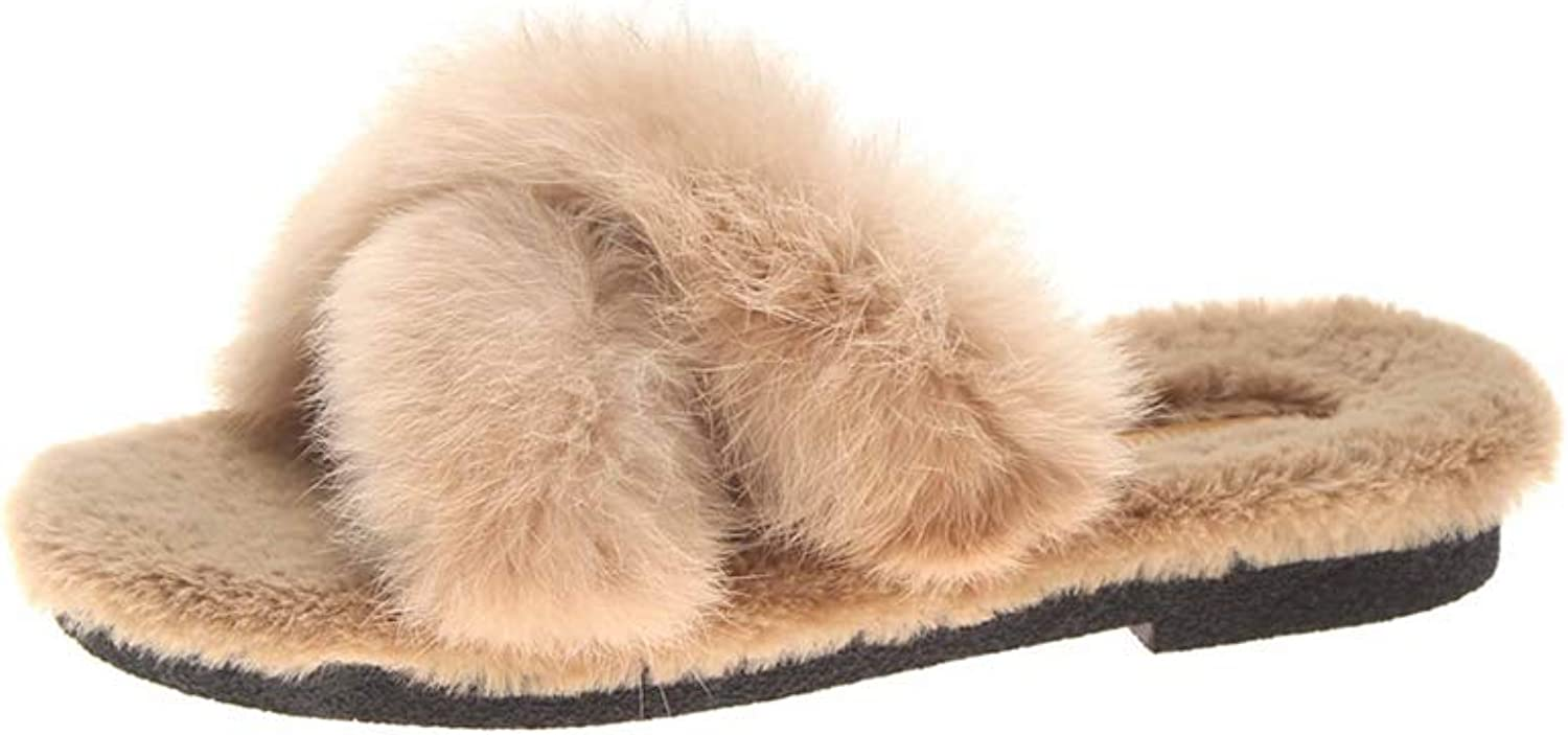 Winter Women Warm Plush Slippers Artificial Fur Indoor Warm shoes Ladies Slip Men Slippers Black Beige