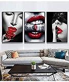 3 UNIDS Moda Abstracta Sexy Labios Rojos Maquillaje Mujer Mordiendo Dólares Dinero Salón de Belleza Lienzo Pintura Arte de la Pared Cartel Sala de estar Estudio Decoración para el Hogar Mura