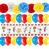 26pcs Carnival Theme Birthday Party Decorations Supplies, Circus Theme Birthday Party Decorations Supplies, Carnival Birthday Party Ideas, Circus Carnival Baby Shower Clown Safari Animal Banner Signs
