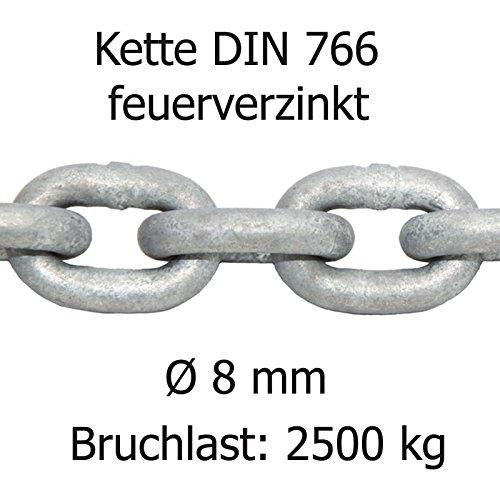 bootsshop in Bad Ischl Ankerkette DIN 766 feuerverzinkt lehrenhaltig Ø 8 mm Bruchlast ca 2500 kg
