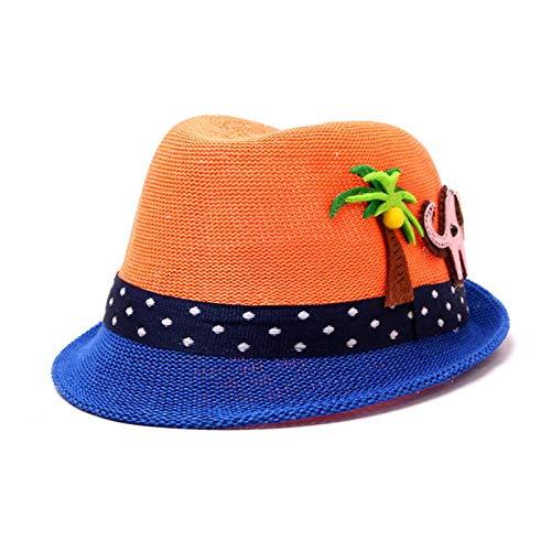 Bucket Hat Chapeau Noix De Coco Chapeau De Paille Chapeau D'Été pour Garçon Chapeaux De Seau pour Fille Casquettes De Panama Activités De Plein Air Casquette De Plage 48-52 Cm Orange