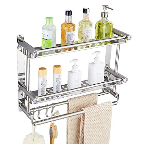 YINGGEXU Shelf Stainless Steel Wall Hanging Towel Rack Multi-Layer Storage Bathroom Shelves, Punch-Free Drilling (Color : Silver, Size : B-Single LAYER-LENGTH50CM)