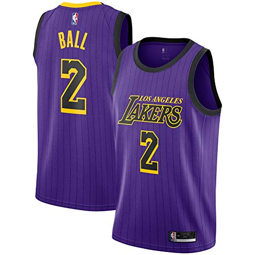 Lonzo Ball Los Angeles Lakers #2 Youth Purple Stripe Alternate Swingman Jersey (Medium 10/12)