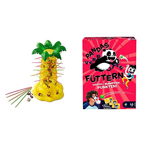 Mattel Games 52563 - S.O.S. Affenalarm Kinderspiel geeignet für 2 - 4 Spieler, Kinderspiele ab 5 Jahren + GRF95 - Pandas Füttern (verboten) für 4 - 8 Spieler, Kinderspiele ab 7 Jahren