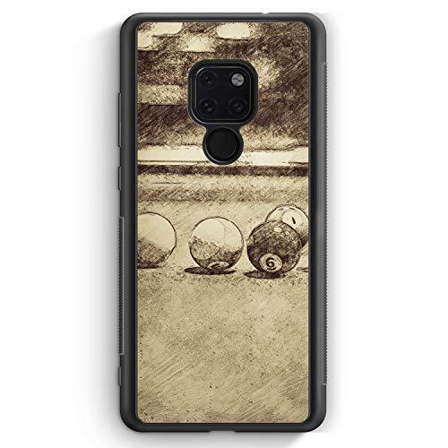 Vintage Billard - Silikon Hülle für Huawei Mate 20 - Motiv Design Sport - Cover Handyhülle Schutzhülle Case Schale