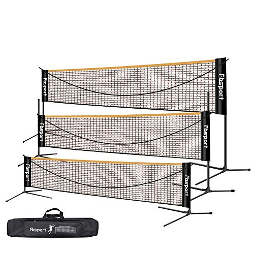 FBSPORT Badmintonnetz,Tennisnetz 3-6m Tragbares Volleyball Federballnetz Trainingsnetz,3 Höhen können eingestellt Werden zusammenklappbare Badminton-Netzablage,drinnen und draußen