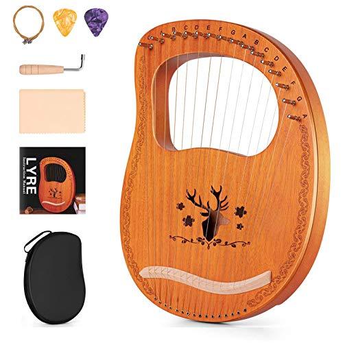 Topnaca Lyre Harfe, 16 Metallsaiten Leierharfe Mahagoni Sperrholz Korpus Saiteninstrument mit Stimmschlüssel und Tragetasche