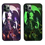 Carcasa de Telefono,Anime Ghost Slayer Nezuko Resistente Al Desgaste Luminoso Funda para iPhone Templado Funda Protectora para iPhone 7 (8) Plus
