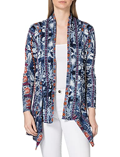 Desigual Womens JERS_Santorini Cardigan Sweater, Blue, S