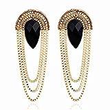 ASDFGHJKL Retro Ausgebogte Metall Schwarz Imitation Edelstein Lange Quaste Ohrringe für Frauen