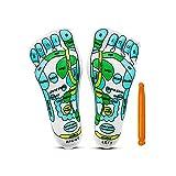 WZPUSMART Acupressure Reflexology Socks for Women and Men Foot Massage Socks Five Toe Separate Socks Cotton Reflexology Acupressure Charts in English Spanish Rod Included