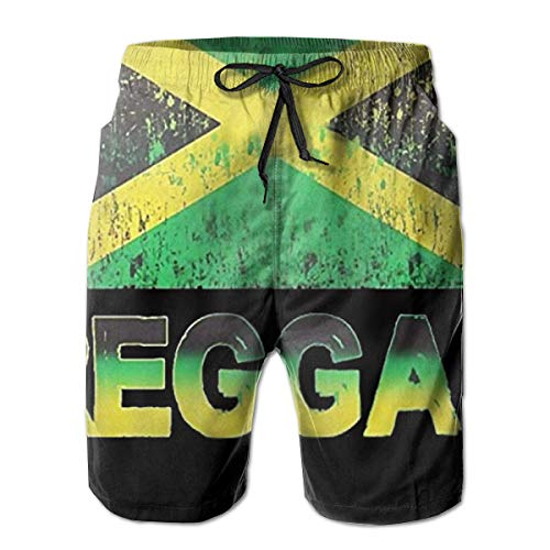Ye Hua Jamaica Reggae Flag Männer Badehose Quick Dry Beach Shorts mit Taschen M