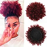 THEMIS HAIR Afro Puff Drawstring Ponytail For Black Women , High Puff Drawstring Short Ponytail Bun For Short Natural Hair , Afro Kinky Curly Ponytail Hairpieces With Clip In Color T1B/118#