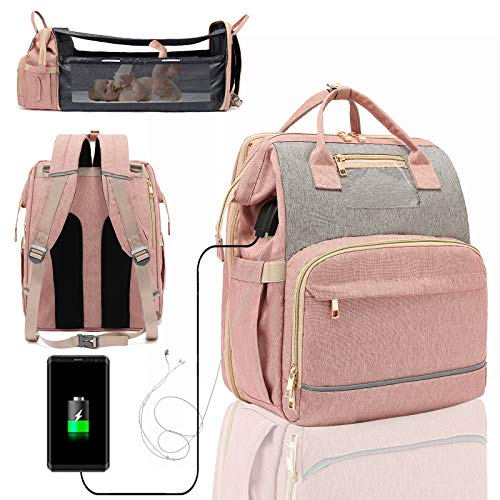 Diaper Bag Backpack with Changing Station, 5 in 1 Travel Bassinet Baby Bed with Sunshade, Baby Backpack Folding Crib, Waterproof Mummy Bag, Large Capacity, USB and Headphone Port(2020 Pink-Gray)