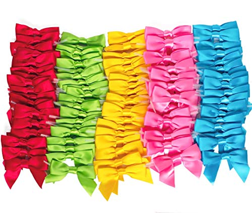 Twist Tie Bows for Treat Bags or Wrapping Any of You Ideas, Amazing for Wrapping Candy, Favor Toys 100 PreTied Bows in Five Colors Pink, Blue, Red, Lime and Yellow. 20 Bows of Each Color. (3 inches)