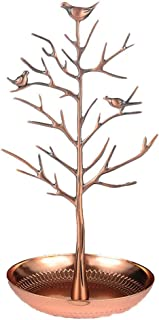 LuckIn Jewelry Holder Display Stand, Antique Birds Jewelry Storage Tree for Earring Necklace Bracelets, Color Rose Gold