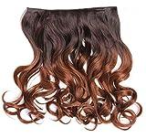 WIG ME UP - CMT-863-052TT30 clip-in extension de cheveux arrière de la tête large 5 clips bouclé dégradé brun châtain brun cuivré 40 cm