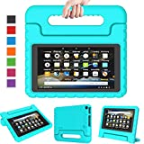 LTROP Kids Case for Fire 7 Kindle Kids Case 2019 - Light Weight Shock Proof Convertible Handle Stand, Corner Protection, Kids Case for All-New Fire 7 Tablet (9th Generation, 2019) - Turquoise
