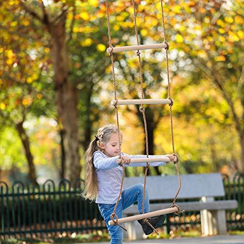 Escalera De Cuerda para Niños con Peldaños De Madera, Ideal para Escalar Marcos, Casas De Árboles, La Casa De Juegos Y Juegos