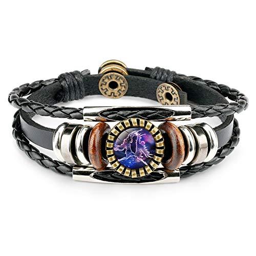 Dunbasi 12 Sternzeichen Armband Herren,Sternbilder Lederarmband Männer Frauen,Glas Cabochon Vintage Armbänder Armschmuck Armkette (Zwillinge)