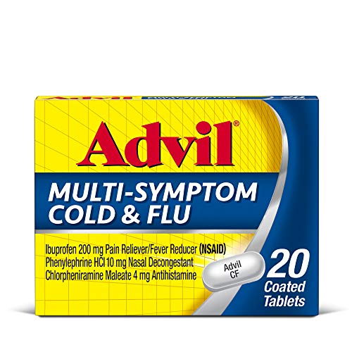Advil Multi-Symptom Cold And Flu, 200mg Ibuprofen, Pain And Fever Reducer, (20 Count), Nasal Decongestant, Fast Relief, Headache, Runny Nose, Sneezing, Body Aches And Sinus Pressure