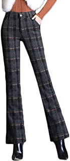 AvaCostume Women's Wool Blend Plaid Bootcut Pant Trousers