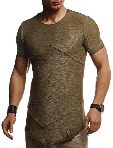 Leif Nelson Herren Sommer T-Shirt Rundhals Ausschnitt Slim Fit Baumwolle-Anteil Cooles Basic Männer T-Shirt Crew Neck Jungen Kurzarmshirt O-Neck Kurzarm Lang LN8281 Khaki X-Large