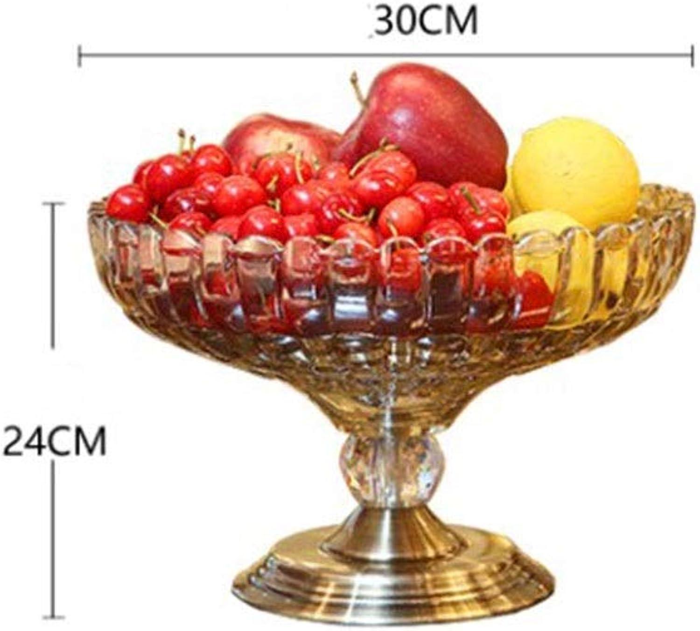 THOR-BEI Corbeilles à Fruits- Assiette de Fruits Salon Simple Table de Fruits Bol de Fruits Verre Cristal Exquis Saladier Durable