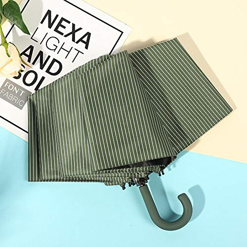 Paraguas japonés pequeño y fresco de lluvia y lluvia de doble uso, protección solar plegable personalizada y sombrilla portátil anti-ultravioleta para mujer-stripe-green_21 pulgadas * 8k