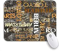ROSECNY 可愛いマウスパッド ノートパソコン、マウスマット用のオレンジトラベルヴィンテージワードパターン都市の名前パリノンスリップラバーバッキングマウスパッド