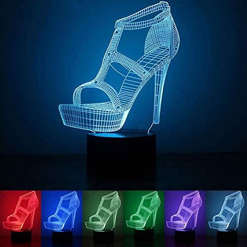 ADIS Lámpara de ilusión 3D llevó Zapato USB de Gama Alta de Noche de luz Nocturna   Lámpara de Escritorio Botón táctil Decoración Uso doméstico Fiesta Fiesta Lámpara para Dormir