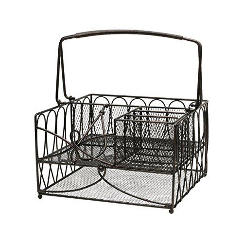 Gourmet Basics by Mikasa Loop Picnic Plate Napkin and Flatware Storage Caddy, Large, Antique Black
