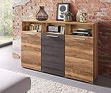 Moebelaktionsshop24 Sideboard Wohnzimmer WOHNWAND Satin NUSSBAUM Darkwood MATT NEU 38125800