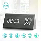 Digital Alarm Clock, LED Wooden Alarm Clock, 3 Levels Adjustable Brightness Dimmer and Triple Alarms, Big Digit Display Date, Temperature and Humidity for Home Bedrooms
