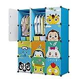 Glamexx24 Kinder Kindergarderobenschrank Wandschrank Kleidung Hängend Kleiderschrank Würfel Organisator, Niedliche Cartoon Blau, 8 Würfel & 2 Aufhängeteile