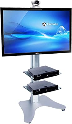 Height Adjustable TV Stand, TV Cart for 32-70 Inch LED LCD Plasma TV Flat Panel Displays Tray Can Be Height Adjusted Bedroom Classroom Meeting Room Video Call