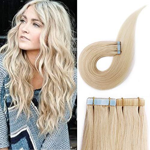 Haarteile Echthaar 20 Pcs Tape in Extensions Echthaar Weich Natürlich Haarverlängerung Keine Clips 60# Platinblond 40 Gramm 35cm