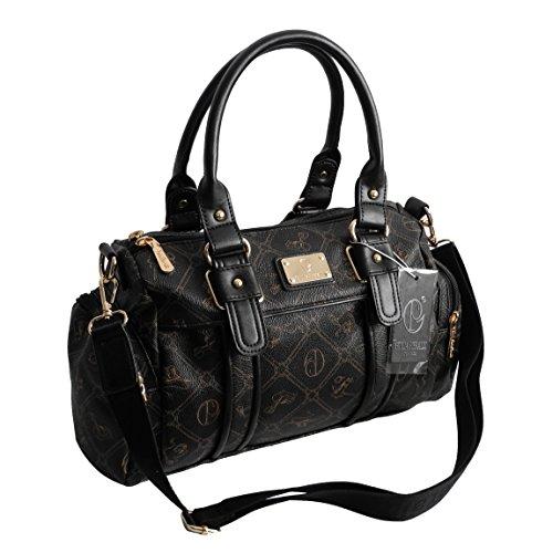 Damentasche von Giulia Pieralli - Damen GlamourHandtasche Handbag Tasche Henkeltasche Bowling Tasche Umhängetasche (Schwarz) präsentiert von ZMOKA®