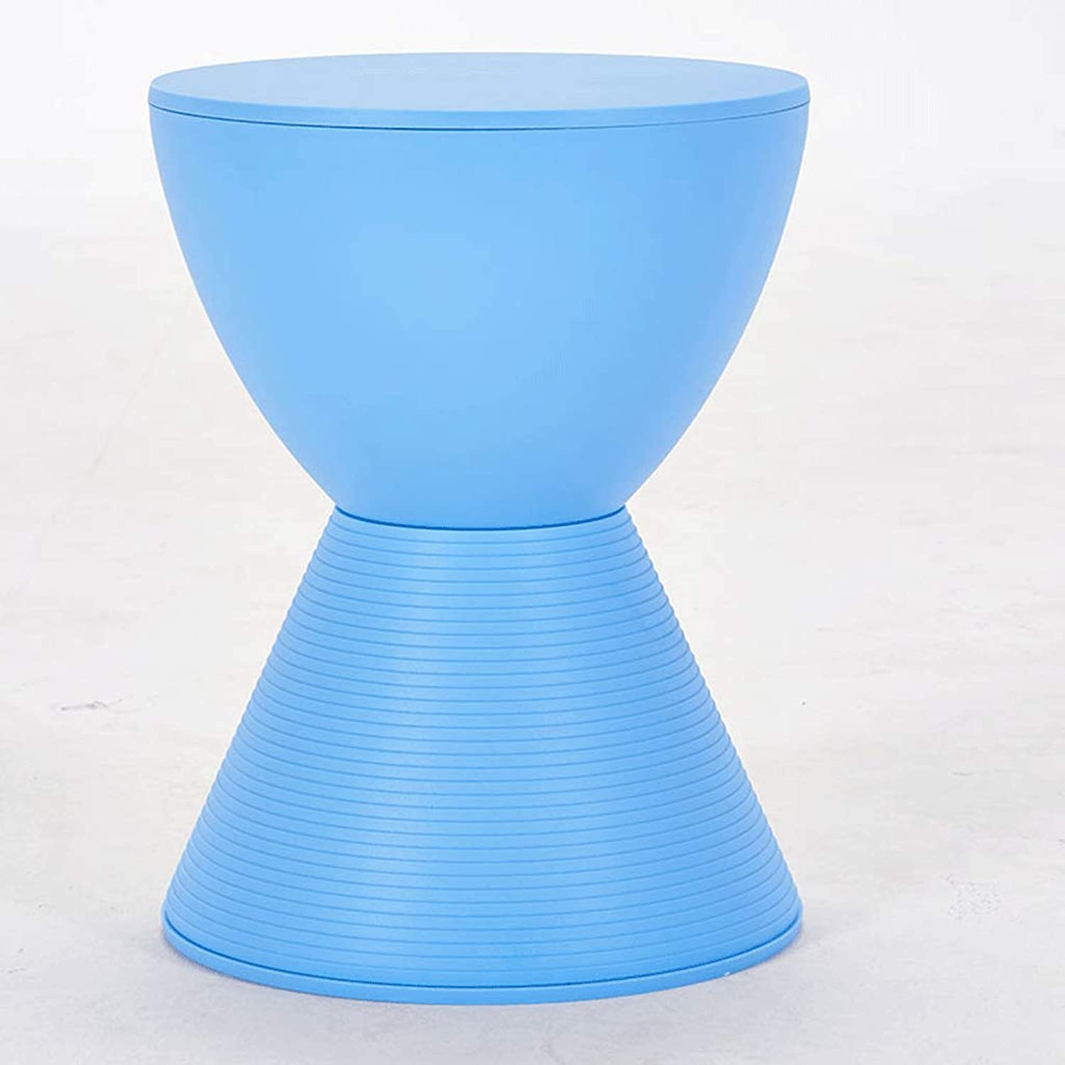 SLH Nordic Hourglass Plastic Small Bench Modern Home Simple Fashion Creative shoes Change Stool (color   bluee)