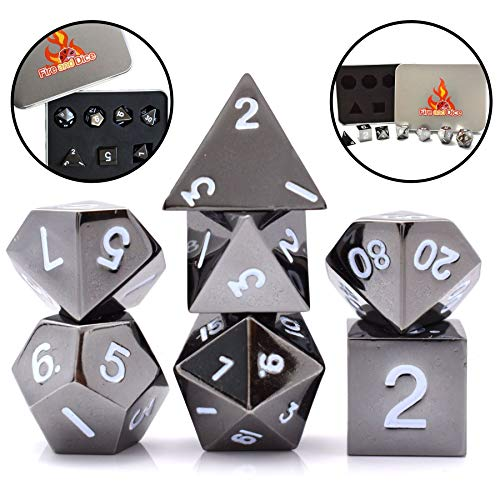 Metal Dice Set for Dnd Dice, Rpg Dice, Game Dice. Polyhedral Dice Set with Metal Case