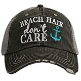 Beach Hair Don't Care Women's Distressed Grey Trucker Hat (Teal Anchor)